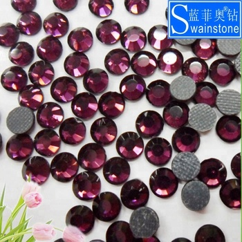 G0830  transfer strass Free Sample Sticky Purple Amethyst SS16 DMC wholesale iron on transfer rhinestone for motif designs