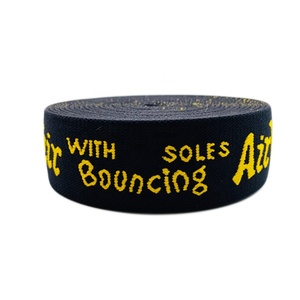 1.25 Inch Custom Yellow Logo Lettering Embroidered Sports Jacquard Elastic Band Webbing For Boxer