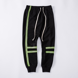 2019 Wholesale mens fashion windbreaker reflective track pants custom cut and sew print stripe sweatpants
