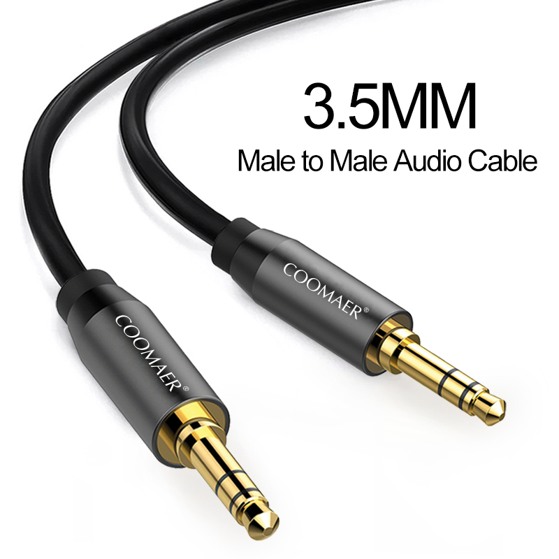 24K Gold Plated 3.5mm to 3.5mm Jack Male to Male Stereo Digital Coaxial Aux Audio Cable