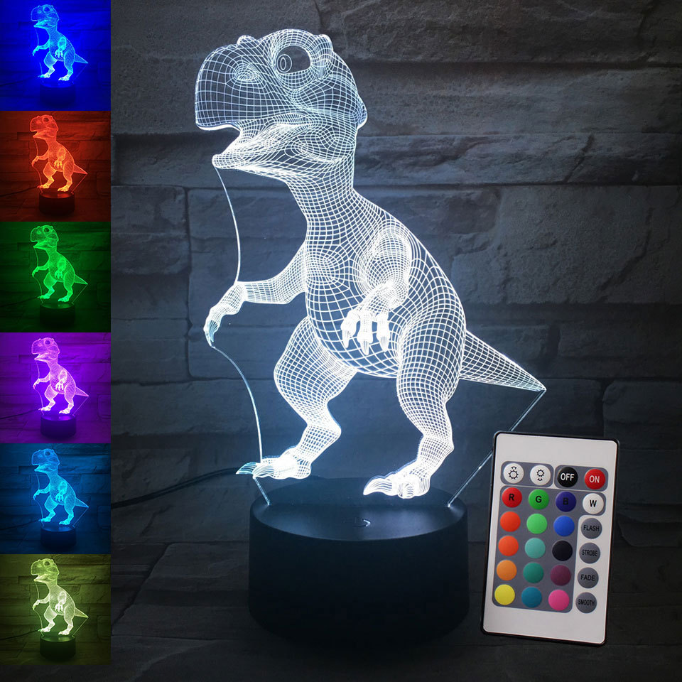 Amazon 3D Night Lamp ABS Base USB Night <strong>Light</strong> 3D Remote Control Animal Table Lamp Home Decor