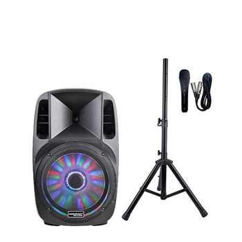 Accuracy Pro Audio CMH15AQMXQ-BT-180W-KIT 15'' Powerful Amplifier Active Speaker With Bluetooth And Speaker Stand Speaker System