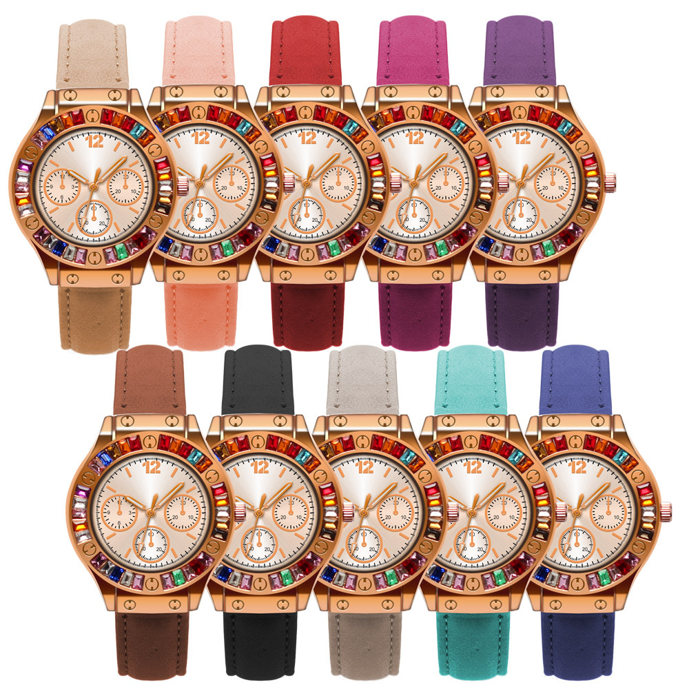 Fashion Women Candy Colors Three Eyes Colorful Crystal Lady Leather Watch Elegance Quartz Wrist Watch (KWT2118)