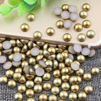 W1011 gold color half round gold beads,wholesaler shop matt gold no glue on 6mm hald round plastic beads for phone
