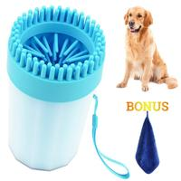 Portable Dog Paw Cleaner with Towel, Upgrade 2-in-1 Pet Paws Cleaner & Grooming Brush Dog Plunger Feet Washer Muddy Paw Cleaner