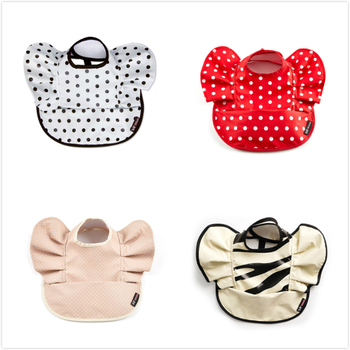 S65591A new Polka Dot gold wings waterproof baby bibs