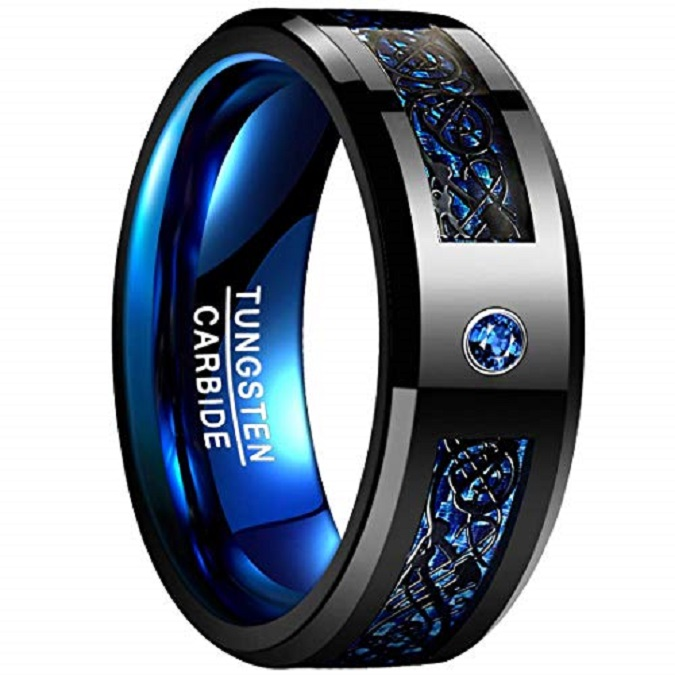 Men's 8mm Blue Carbon Fiber Black Celtic Dragon Tungsten Carbide Ring Comfort Fit Wedding Band Size 7 to <strong>12</strong>
