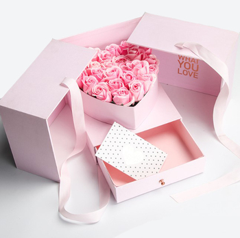 Luxury Printing Custom Design Cardboard Flowers surprise Heart Shape Packaging Gift flower Box