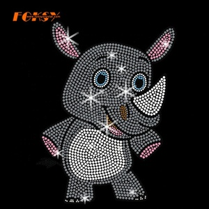 Custom Hot Fix Rhinoceros Motif Rhinestone Heat Transfer for T-shirt