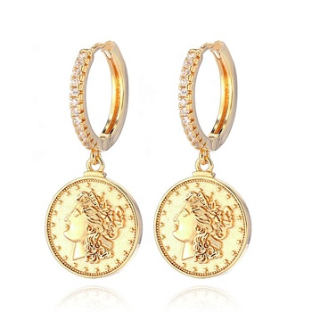 2019 Newest trendy fancy gold coin earrings gold plated charm round virgin mary earrings women