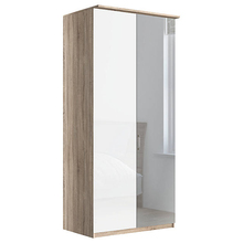 100cm Wardrobe Mirrored Doors Light Rustic