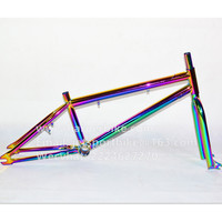 Oilslick / Fuel Color / Rainbow color bicycle frame and fork for BMX