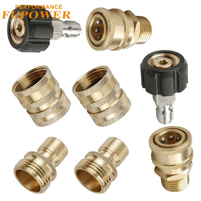 Copper Car Washer Adapter External thread <strong>connector</strong> Kit 3/8-M22 watering <strong>nozzles</strong>