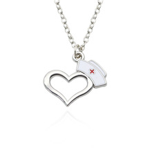 The Nurse Hat Heart Pendant Necklace Silver Plated Nurse Jewelry