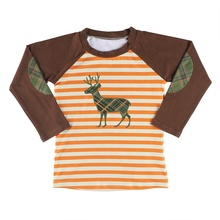 Kids Christmas Clothing Baby Striped Print &amp; Deer Long Sleeve New Style Fashion <strong>Boy's</strong> Shirt