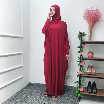 2019 islamic muslim women prayer abaya solid color jilbab hijab abaya khimar prayer dress
