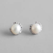 fashion fresh water pearl CZ crystal gemstone 925 sterling silver stud earring jewelry for women