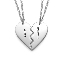 Inspire Jewelry Gold Silver Personalized Breakable Heart Necklaces custom high polished couple pendant necklace engravable