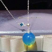 18k gold ball-shaped natural Mexico 3a blue amber pendant <strong>necklace</strong> for female