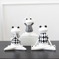 Nordic style modern resin yoga frog ornaments ins living room bedroom decorations display birthday gifts