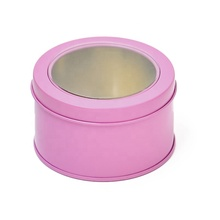 Fast delivery tin box round tin box pvc window pink tin box with no minimum quantity