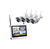 "12.5"" LCD Monitor NVR Wifi Camera Kit 4CH 1080P Wireless CCTV System"