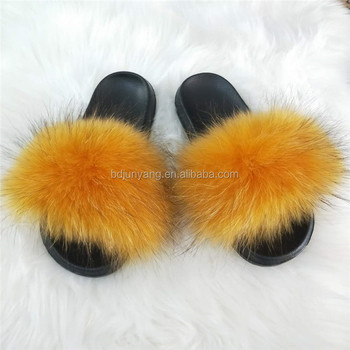 designer fur slippers/sliders slippers fur/ladies fur slippers