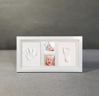 40*21.5 cm new born baby handprint and footprint MDF photo frame with clay for gift keepsake
