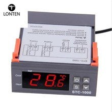Lonten Two Relay Output LED Digital Temperature Controller Thermostat Incubator STC-<strong>1000</strong> 110V 220V 12V 24V 10A with Heater and C