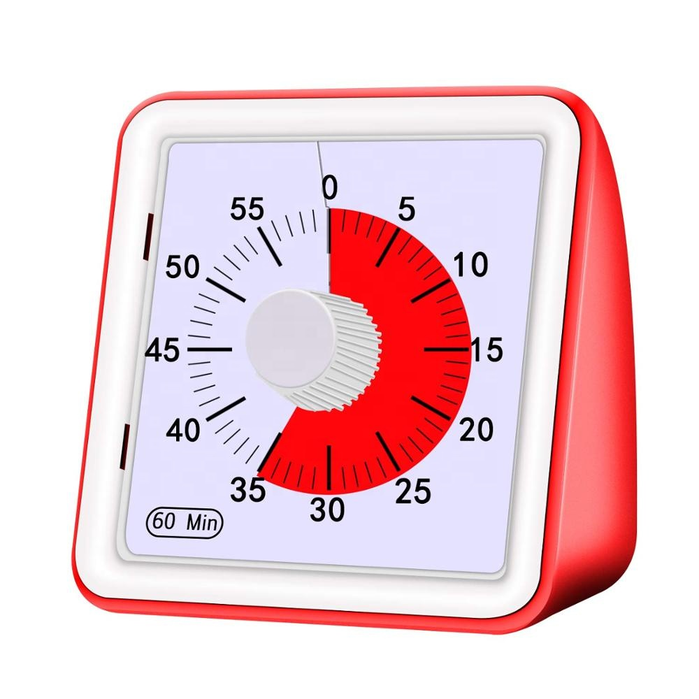 60 Minute square kitchen silent classroom meeting countdown alarm visual analog <strong>timer</strong> for kid