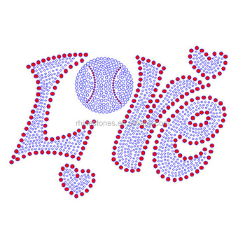 1213W Simple Love rhinestone design iron on letters Custom hotfix designs for wholesale
