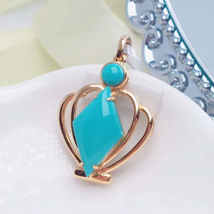 fashion white gold Crystals modern pendant gemstone 18k gold natural turquoise pendant buckle pendant e turkish