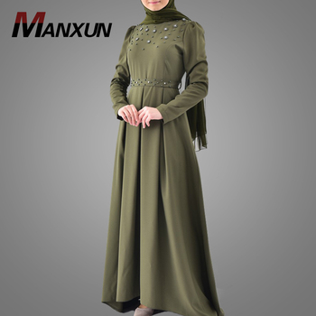 New Design Beautiful Beads Abaya Soft Polyester Long Sleeve Muslim Islamic Women Clothing  New Style Abaya In Dubai