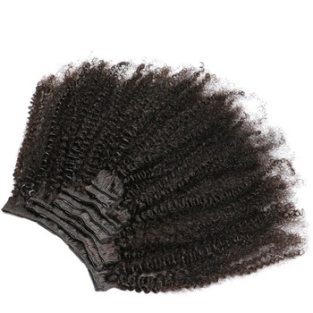 Lsy Wholesale Mongolian Afro Kinky Curly Human Hair Weave Clip In Hair Extensions, Brazilian Afro Clip ins 7pcs 8pcs Per Set