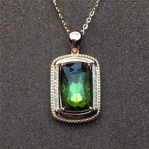 opening pendant 18k gold South Africa real diamond natural tourmaline pendant for women gemstone crystal
