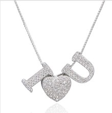 925 Sterling Silver New Arrival Bling Crystal Letter Pendant Alphabet Necklace For Women Capital Jewelry