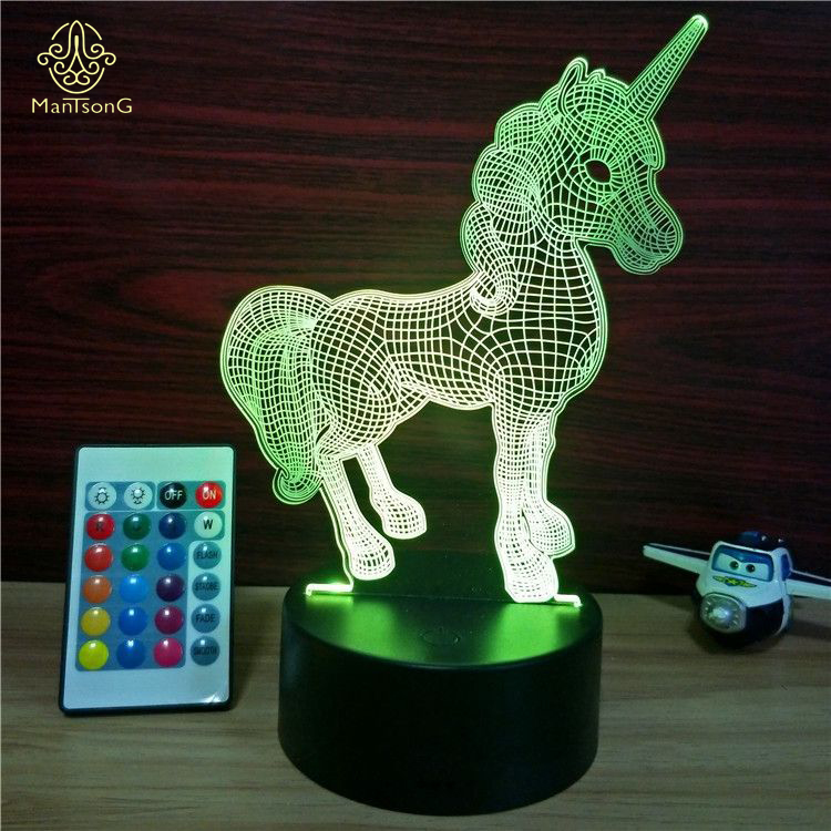 Unicorn 3D Night <strong>Light</strong> Led Remote Control 16 Colors Flashing Table Lamp For Kids USB Night <strong>Light</strong>
