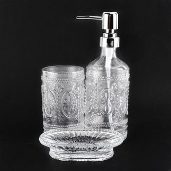 white transparent glass bathroom accessories with carve patterns