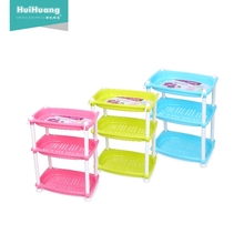 factory price high quality 3 layers folding plastic bathroom kitchen home storage organizers holder <strong>shelf</strong> storage rack