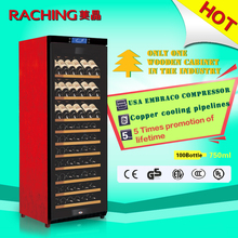 Factory Direct Offer Raching 100 Bottles Whirlpool Embraco refrigeration compressor Solid Wooden Wine Cooler Kitchen Cabinet