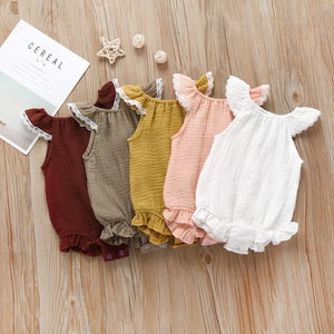 organic baby clothes gots certified toddler clothes cotton muslin ruffle rompers flutter sleeve girl romper