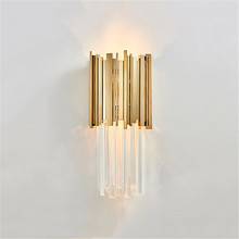 Guzhen Clear Crystal Gold Finish Stainless Steel Loft Gorgeous Sconce Loft Electric Inn Wall Lamp Modern with E14 <strong>Bulb</strong>