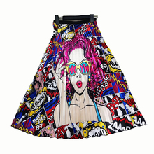 Hot Sale High Quality Women Latest New Half Trendy Elastic Waist Cartoon Printed A-line Maxi Long Pleated <strong>Skirt</strong> With Lining