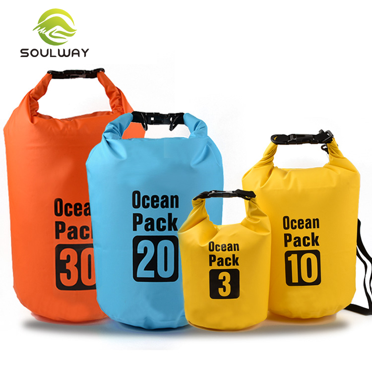 Ningbo factory polyester pvc 500D 5L floating waterproof dry bag for outdoor camping
