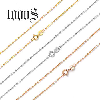 1000S Luxury Pure 9K Solid Rose Gold Yellow Gold White Gold O Shape Women Necklaces For Engagement Pendant 45cm 18'' Chain