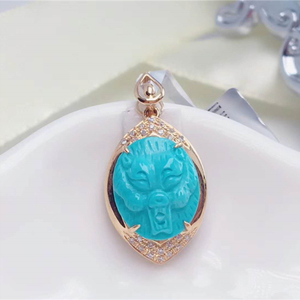 gemstone pendant 18k gold South Africa real diamond natural turquoise pendant for women pendant making machine