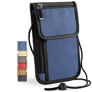 Eco-friendly multifunctional cheap classic neck travel wallet personalized RFID passport holder