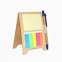 Notebook Kraft Paper Notepad with Pen in Holder and Sticky Notes, Page Marker Colored Index Tabs Flags