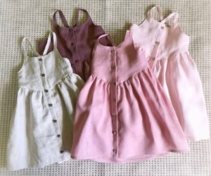 Fashion girls dress linen cotton full sleeve organic fabric buttons baby dress