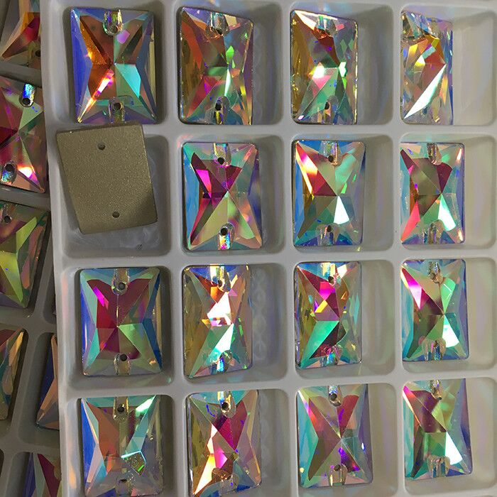 Wholesale Rectangle shape <strong>crystal</strong> sew on rhinestone for dance clothing